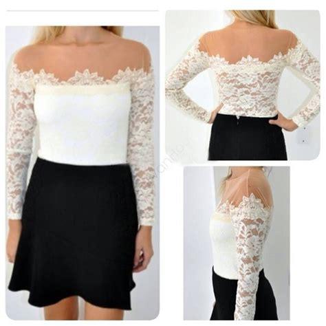 Blouse Kerah Renda Blouse Polos 2014 new fashion blouses casual lace shirts chiffon blouses white lace tops