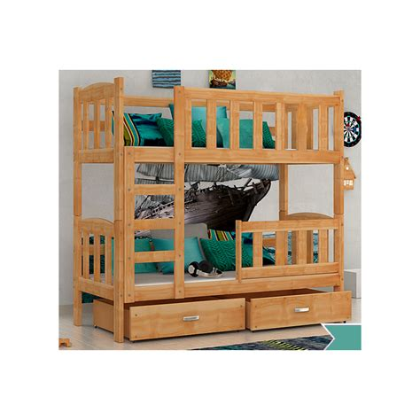 Pine Wood Bunk Beds Solid Pine Wood Bunk Bed With Mattresses And Drawers 160x70 Cm