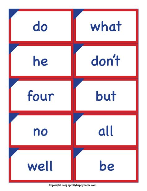 printable flash cards words kindergarten sight word flash cards free printable a