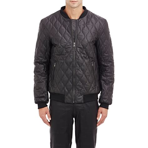 Black Quilted Jacket by Lot78 Quilted Leather Bomber Jacket In Black For Lyst