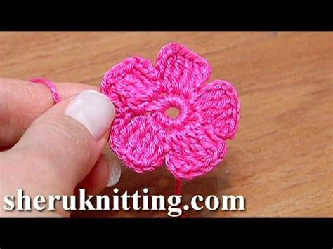 Flat Flower Channel crochet small five petal flat flower tutorial 28 part 2 of