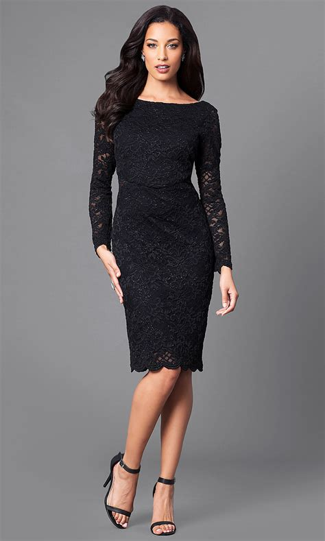 knee length lace party dress  sleeves promgirl