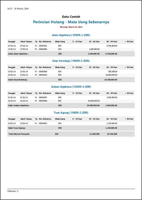 format laporan hutang piutang contoh laporan hutang zahir accounting software