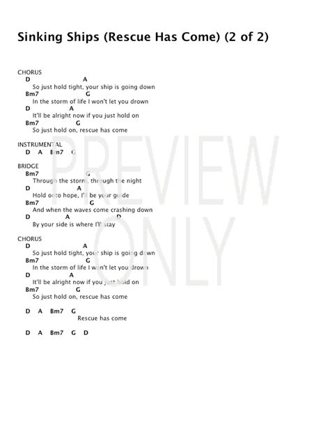 The Sinking Lyrics by Sinking Ships Rescue Has Come Lead Sheet Lyrics
