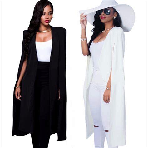 Miniso Womens Fashionable White 2016 fashion cloak cape blazers and jackets white black lapel split sleeve solid