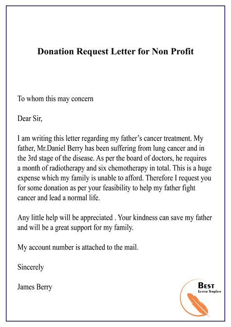 donation request letter profit letter