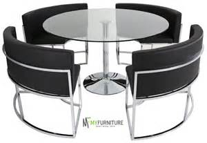 Hideaway Dining Table And Chairs Hideaway Glass Dining Table And Black Chair Set Ebay