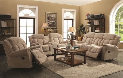Taupe Living Room Furniture Reige Motion Taupe Reclining Living Room Set From Coaster 601591 Coleman Furniture