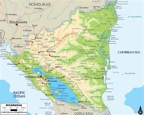 nicaragua on a map physical map of nicaragua ezilon maps