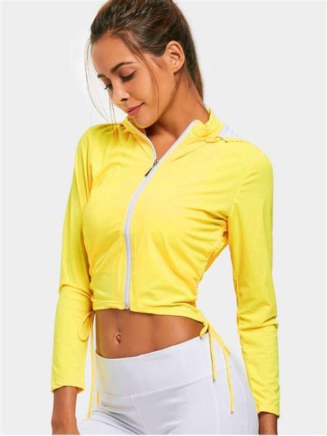 Hoodie Zipper Yellow Claw Leo Cloth zip up side drawstring sporty hoodie yellow hoodies jackets l zaful
