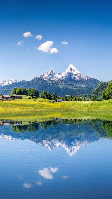 wallpaper summer mountains lake alps  nature