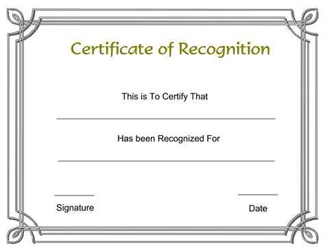 template for certificate of recognition 8 best images of recognition award certificate templates