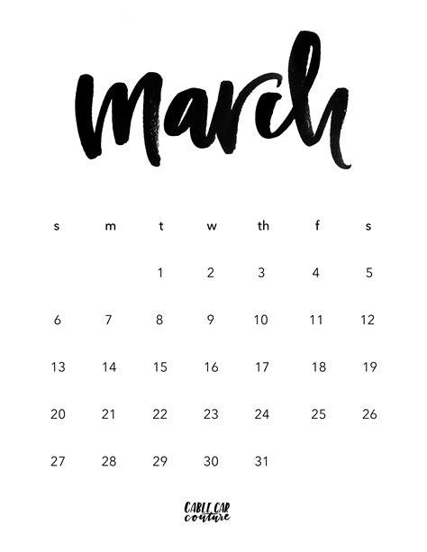 Printable Calendar 2016 Calligraphy | march brush calligraphy calendar 2016 cable car couture