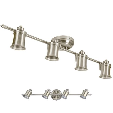 Track Light Fixture Brushed Nickel 4 Bulb Wall Or Ceiling Mount Track Light Fixture Ebay
