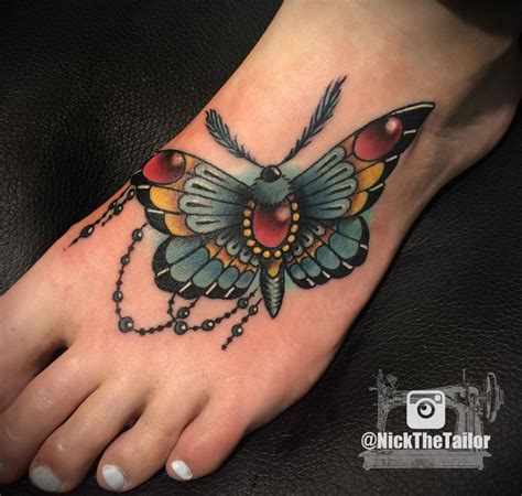 butterfly tattoo neo traditional full color moth foot tattoo with gems butterfly by