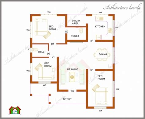 wonderful house plans 1200 sq ft kerala style house plans 1200 square two bedroom house