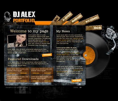 Dj Portfolio Flash Template Best Website Templates Best Dj Website Templates