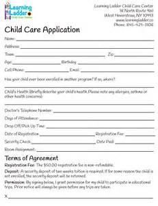 child care employment application template learning ladder forms