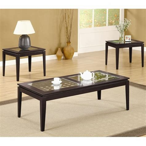 coaster 700205 brown glass coffee table set a sofa