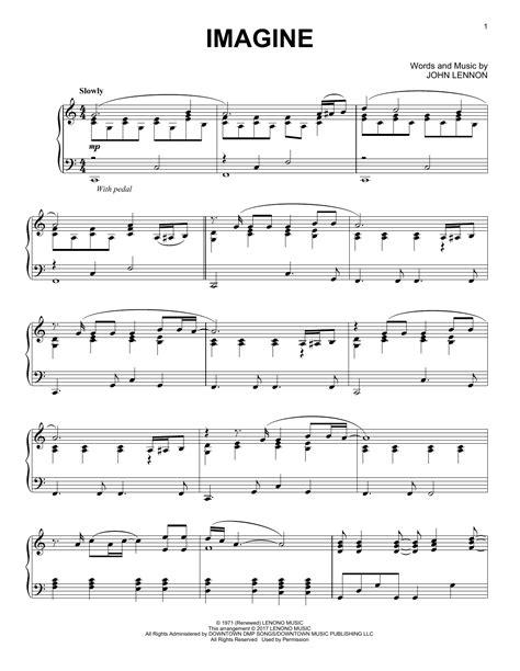 testo canzone imagine lennon spartito pianoforte imagine di lennon pianoforte