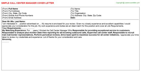 cover letter for call center manager position 28 images