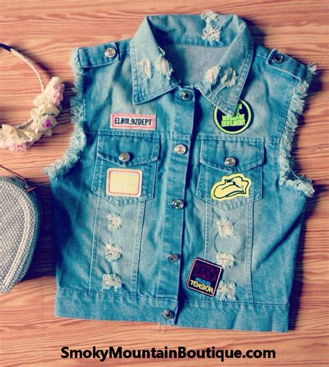 Patches Denim Size Sml biker blue jean denim vest with patches size 6 8 small medium smoky mountain