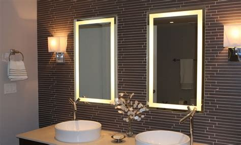 how to a modern bathroom mirror with lights