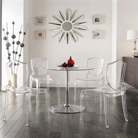 lucite dining set interior design pinterest homelegance tron 5 piece led dining set with clear chairs