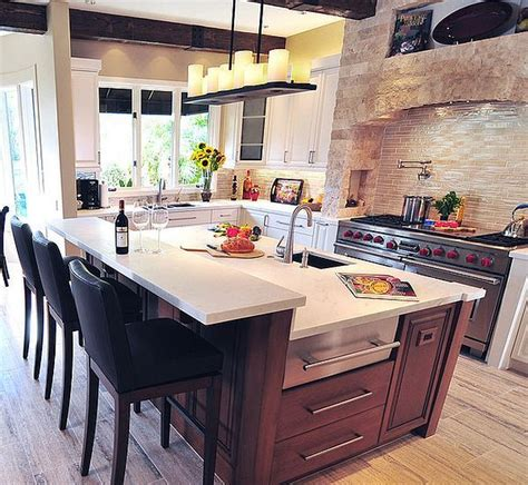 mediterranean kitchen design with modern island has the