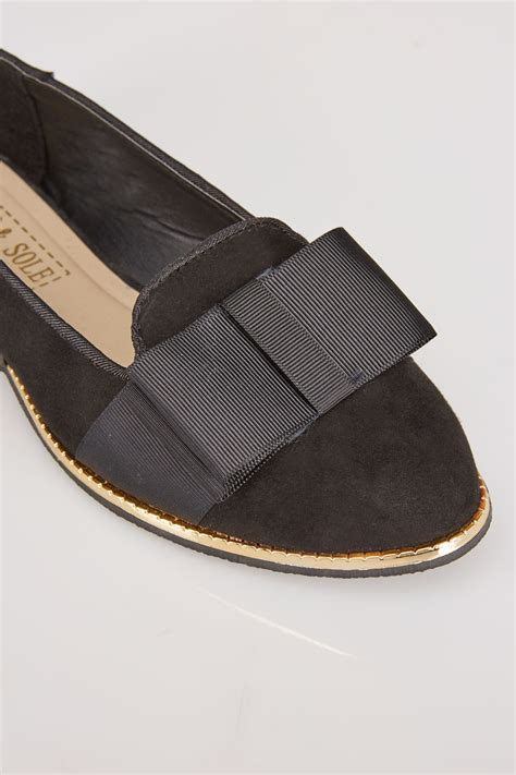 international comfort products contact black comfort insole ballerina pumps with gold trim in e fit