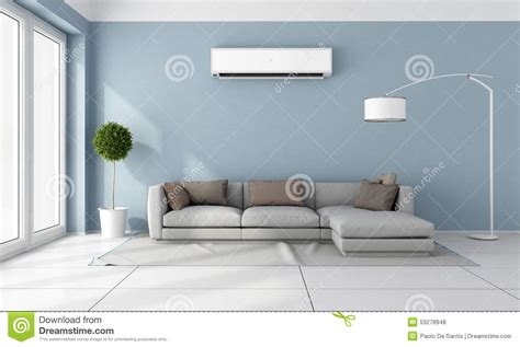 air in room living room with air conditioner stock illustration image 53278948