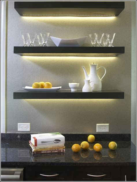 floating kitchen shelves with lights floating shelves lowes fits to minimalist interior design