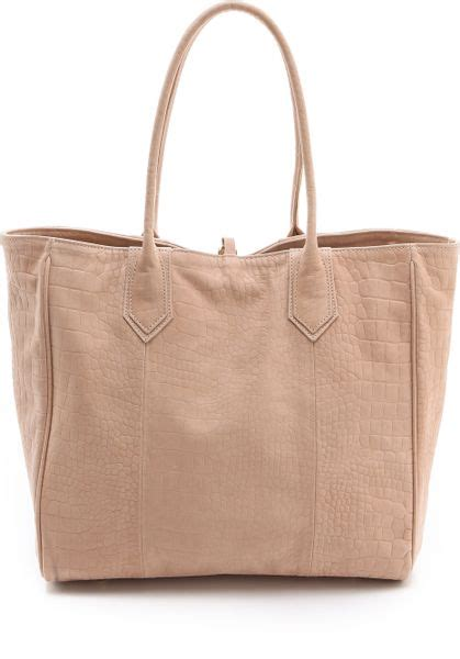 Merkin Large Plum Tote Purses Designer Handbags And Reviews At The Purse Page by Merkin Reese Croco Suede Tote In Beige Lyst