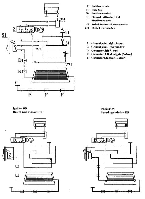 volvo 740 1990 wiring diagrams rear window defogger