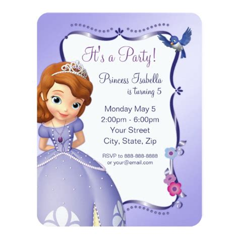 Sofia The Birthday Invitation Card sofia the birthday invitation zazzle ca
