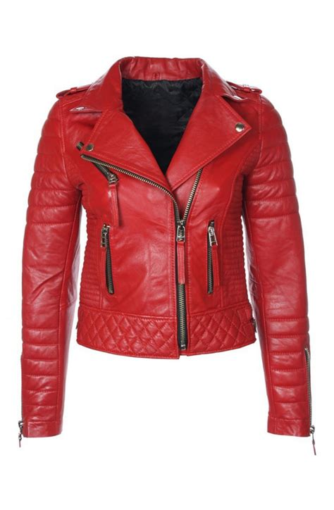 red motorcycle jacket women s red leather quilted biker jacket