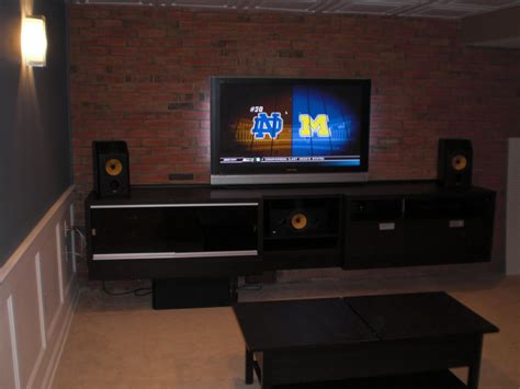 ikea entertainment center floating black entertainment center ikea and exposed brick