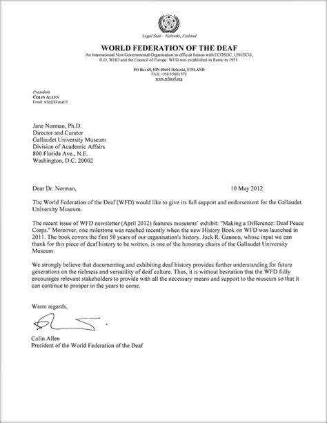 Endorsement Reference Letter Endorsement To The Gallaudet Museum Gallaudet