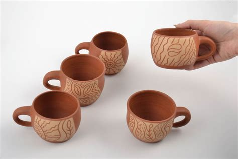 decorative glass cups madeheart gt set of handmade decorative pottery ceramic
