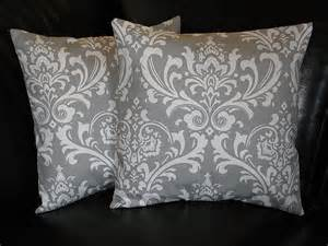 damask pillows grey and white accent by littlepeepshomedecor