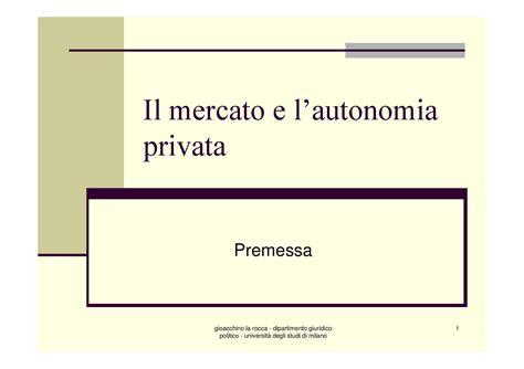 dispensa diritto privato mercato e autonomia privata diritto privato dispense