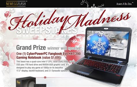 Newegg Giveaway - win a cyberpowerpc gaming notebook from neweggflash gamecrate