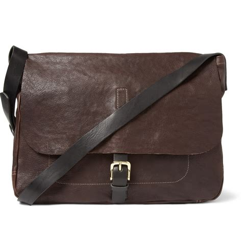 brown leather messenger bag ally capellino justin leather messenger bag in brown for lyst