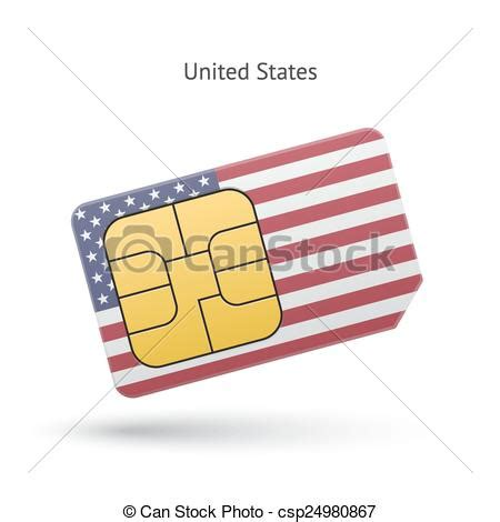 United States Phone Lookup Clip Vector Of United States Mobile Phone Sim Card With Flag Vector