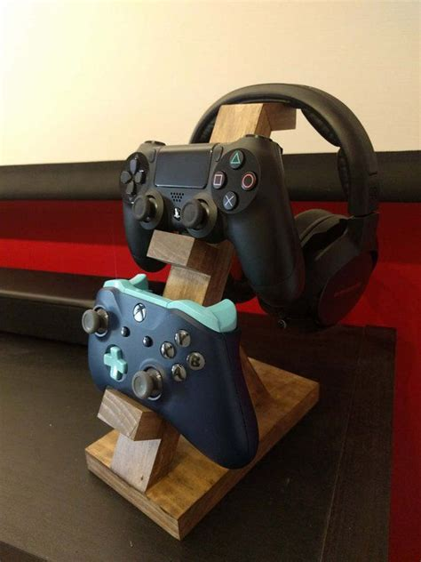 wooden controller stand headset stand game room design