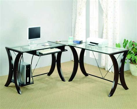 white glass desk lshape desk in powder coating white with