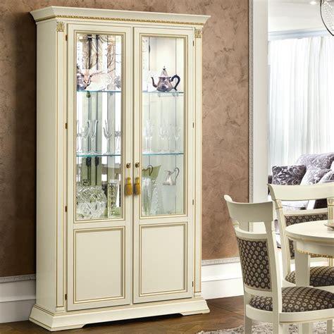 treviso ornate ivory ash wood  door glass display cabinet   interiors