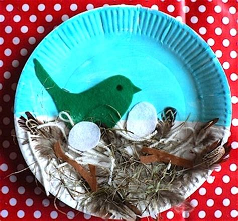 Bird Paper Plate Craft - bird s nest paper plate craft preschool education