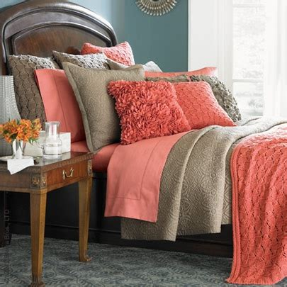 coral and taupe bedding mix ideas ruffles bedroom decorating ideas and the