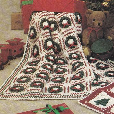 pattern christmas afghan christmas afghan crochet patterns tree wreath designs